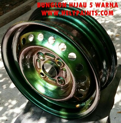Cat bunglon hijau chrome paint